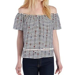 Lucky Brand Striped Off- the-Shoulder Top M L776